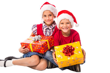 two kids with Christmas gift box