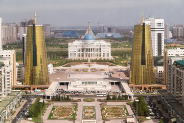 Presidential palace and Twin towers in govermental district, Ast
