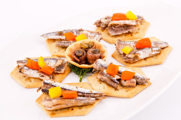 Fish on crackers