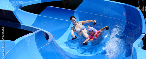 Mother and child having fun in water park - 72639036