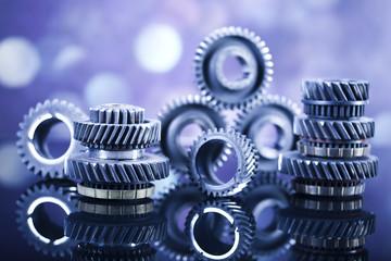 Closeup of gears, industrial mechanism