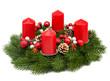 Leinwanddruck Bild - Adventskranz vor weißem Hintergrund
