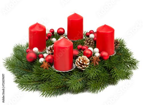 Leinwanddruck Bild Adventskranz vor weißem Hintergrund