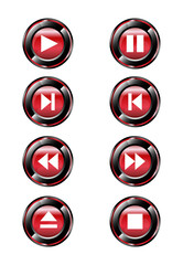 Red round media player buttons and audio player icon