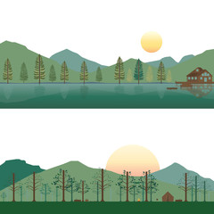 Cabin on Lake and Camping on Mountain in Summer and Spring