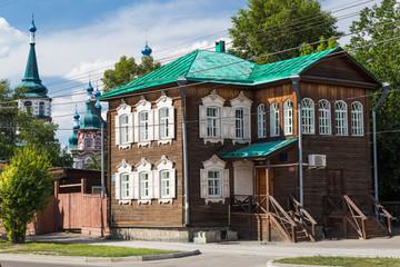 Historical wooden house in Irkutsk, Russia