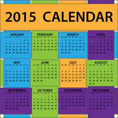 2015 Calendar Whole Year Braided Colors Pattern