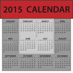 2015 Calendar Whole Year Red White Gray