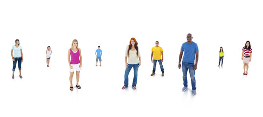 Happy young Adults Standing With White Background