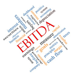 EBITDA Word Cloud Angled Concept