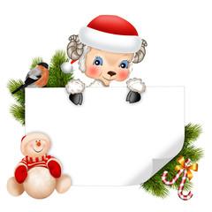 Символ нового года барашек с открыткой