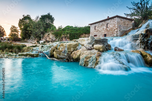 Tuinposter Watervallen Natural spa with waterfalls in Tuscany, Italy