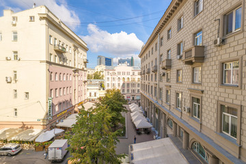 Streets and houses in the center of old Moscow