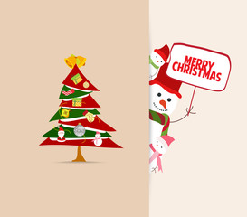 christmas greeting card with tree decoration and snowman