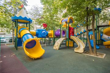 modern children's playground in the courtyard