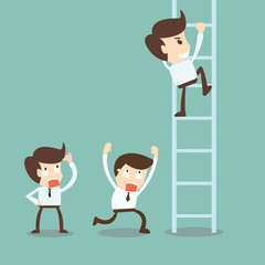 Corporate ladders - Businessman climbing the ladder