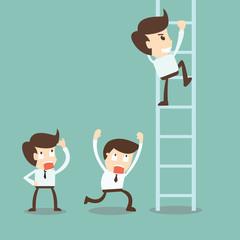 Corporate ladders - Businessman climbing the ladder