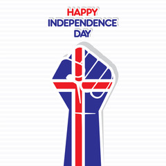 Flag of Iceland in hand , happy Independence Day design vector