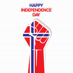 Flag of norway in hand , happy Independence Day design vector