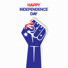 happy independence day of Australia flag in hand vector