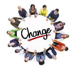 Multi-Ethnic of People and Change Concepts
