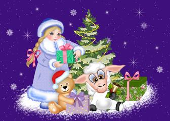 снегурочка, мишка и овечка у новогодней елки с подарками