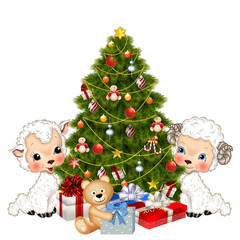 барашек и овечка с елкой и подарками