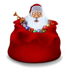 Santa Claus sits in a sack with gifts