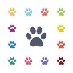 cat footprint flat icons set.