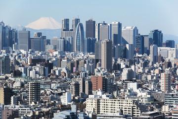富士山と新宿高層ビル群と密集した都心の街並