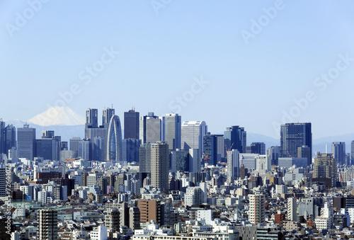 富士山と新宿高層ビル群と密集した都心の街並 072