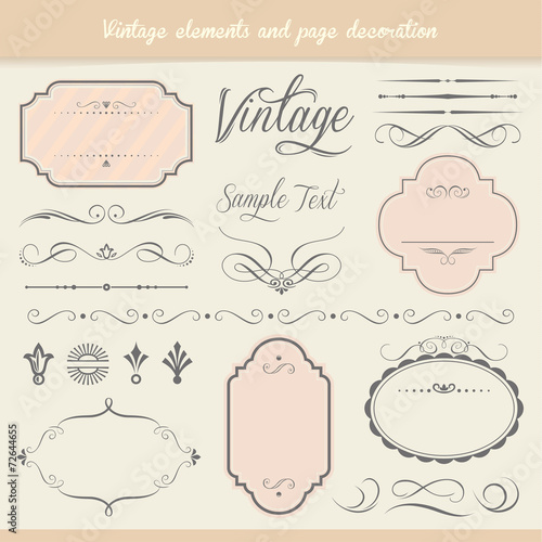 Vintage elements and page decoration - 72644655