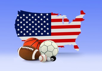 American Map and Sport Balls