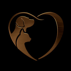 Dog and Cat love heart bronze logo