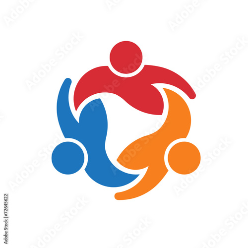 Three People around circle.Concept group of people united