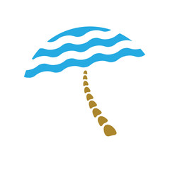 beach umbrella, tourism logo