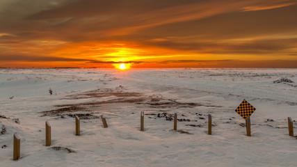 Sunset in the fridged prairies