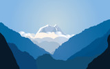 Vector illustration with mountains. Blue landscape. Drawing landscape