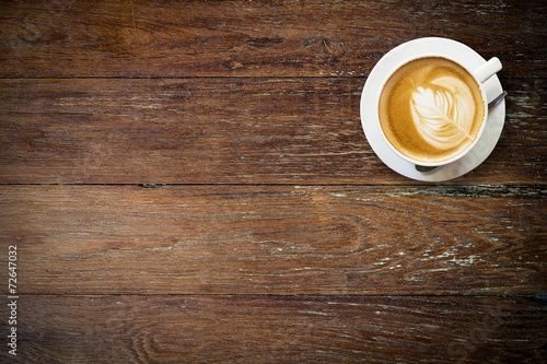Foto op Plexiglas Koffie latte coffee on wood with space.