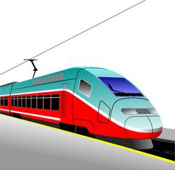 Red-blue modern speed bullet train. Fast suburban, subway, metro
