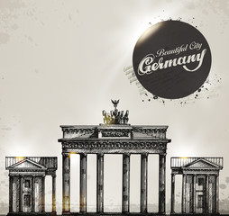 Brandenburg gate. Berlin arch symbol. Hand drawn pencil sketch