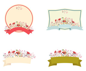 Retro floral frame and ribbon set