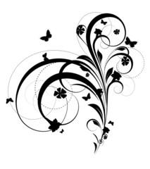 Black Shape Abstract Flourish Design