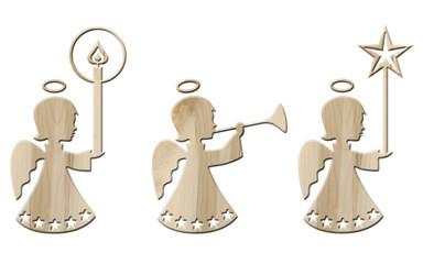 Set: 3 Engelmädchen mit Kerze, Fanfare, Stern aus Ahornholz