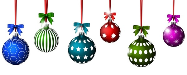 Christmas balls with ribbon and bows for you design