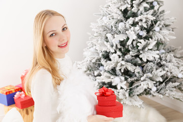 Caucasian woman with a gift