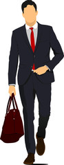 Young handsome man with brown bag. Businessman.Vector illustrati
