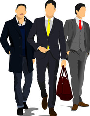 Three Young handsome men. Businessman.Vector illustration