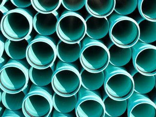 Bright blue PVC pipes