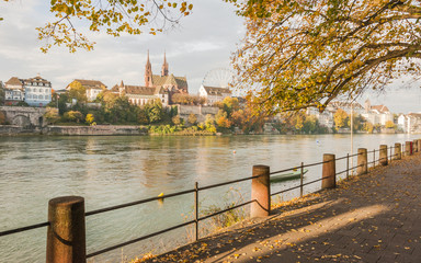 Basel, Altstadt, Rheinweg, Münster, Kirche, Herbst, Schweiz